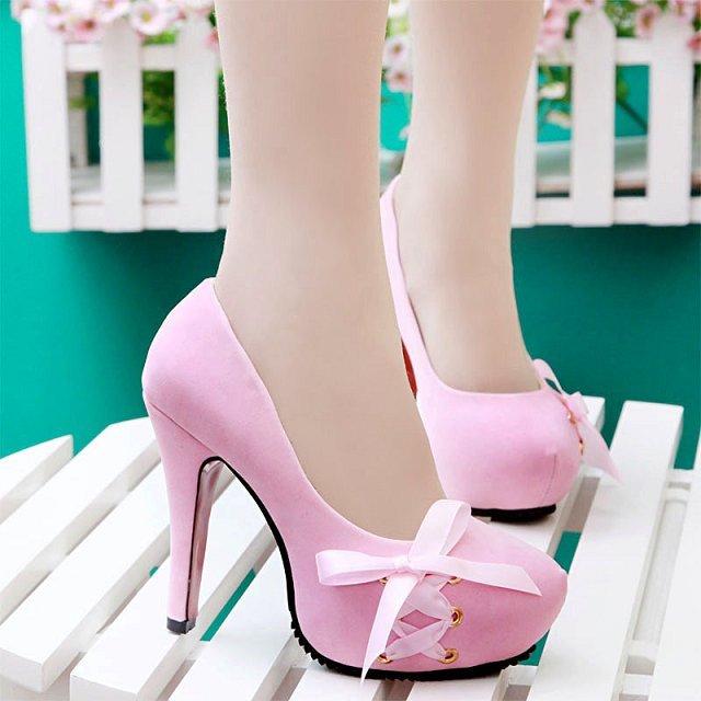 Bow ribbon velvet platform high heeled pumps for women sexy pink