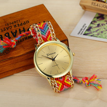 Fashion Geneva Watches Women Quartz Watches Multicolor Friendship Watch Braided Rope Bracelet Watch 13 Colors BW