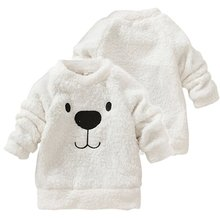 Hot New Children Baby Clothing Boys Girls Lovely Bear Furry White Coat Thick Sweater Coat(China (Mainland))
