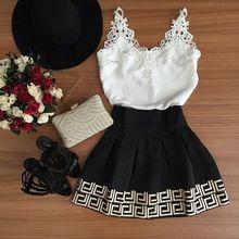 Mujeres Vestido de verano 2015 blanco y negro corto cuello en V de encaje de los vestidos ocasionales lindo Vestido de festa curto Vestido Skater