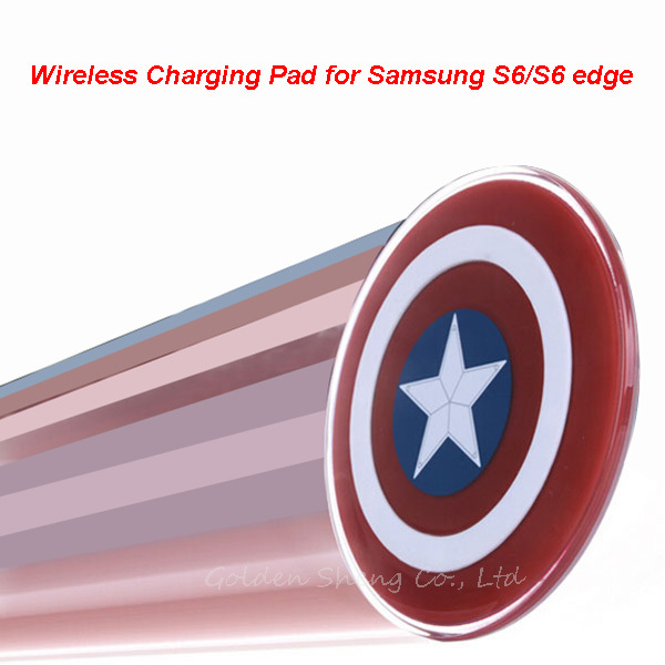 1 Pc/Lot Free Shipping, Captain America Shield Charging Pad QI Wireless Charger For Samsung Galaxy S6 G9200 S6 Edge G9250.