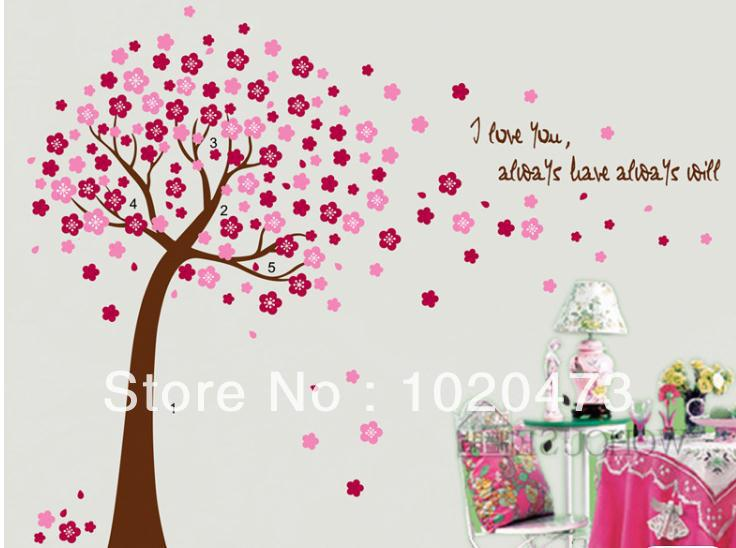 Sky Blue Or Pink Cherry Tree Wall Decals For Nursery And Baby room.Removable Wall Art Wall Decor Sticker Wall Vinyl Stickers9026(China (Mainland))