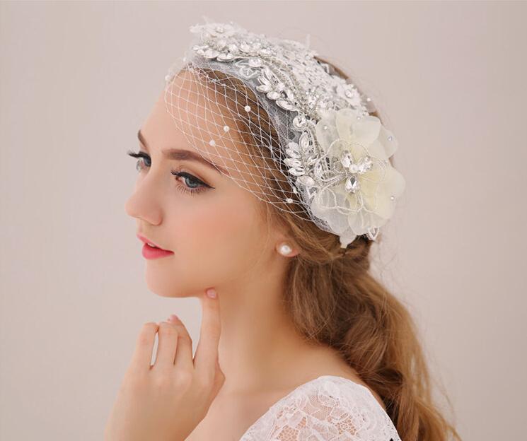 Bridal hair jewelry hairpins wedding headdress crystal pearl lace flower tiara womens head decoration bridal hair accessories<br><br>Aliexpress
