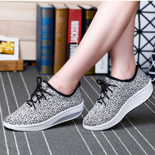 Summer Breathable Stretch Fabric Wedge Heel Lace Up Grey Black Women Casual Shoes Female Daily Walking Shoes(China (Mainland))