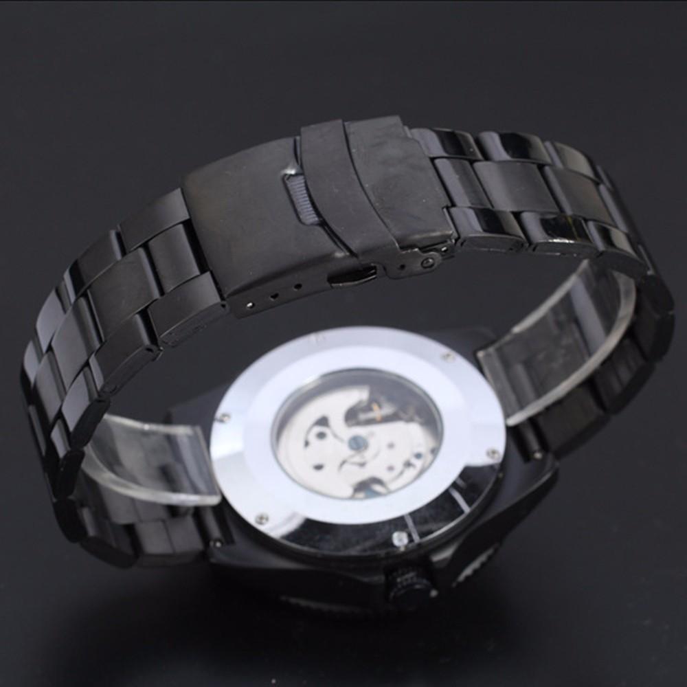 2016 new fashion skeleton black steel men male clock Winner brand stylish design classic mechanical self-wind wrist dress watch