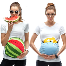 Summer Maternity Shirt Pregnant Women Tops Short Sleeve Maternity Clothes Cute Cartoon T-shirts Big Size White Tees tyh-50772(China (Mainland))