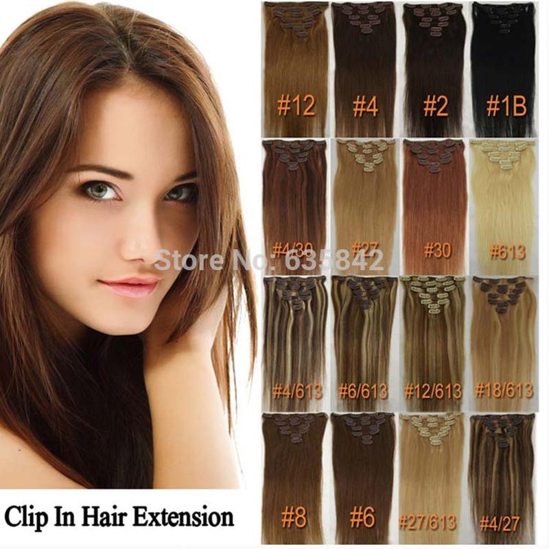 Clip In Hair Extensions Straight 18Inches 40CM 7Pcs/set 70gram 100% European Person Real Human Natural Hair Full Head Hairpiece