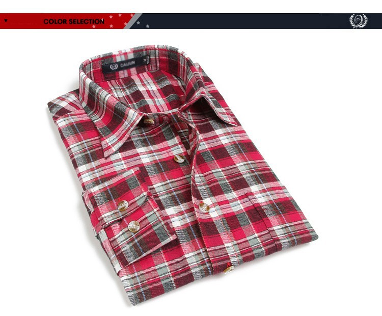 Men's Long Sleeve Plaid Shirts Flannel (11)