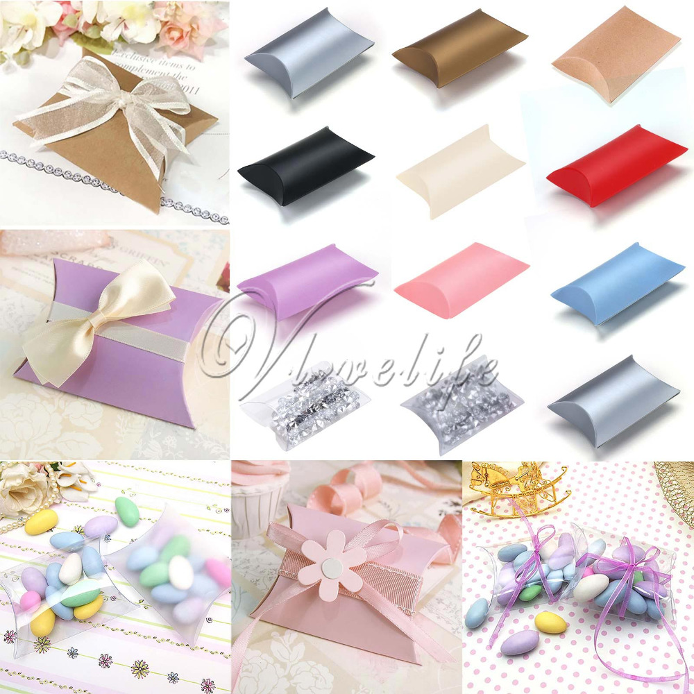 Cute Kraft Paper Gift Box Pillow Shape Wedding Party Favor Favour Gift Candy Boxes Gift Paper Box Bags Supply 2.5'' X 3.5''(China (Mainland))