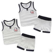 2016 New Cartoon Summer Baby Boy Clothing Set Tank Top + Shorts Kid Boy Summer Set Children Boy Clothes Set Sleeveless