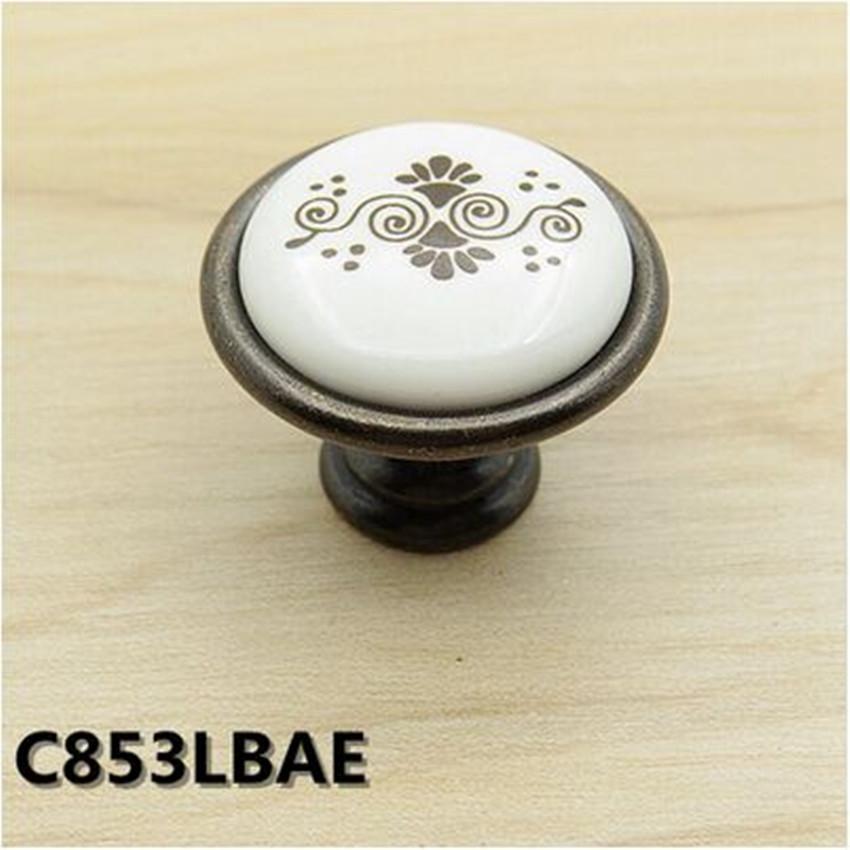 Fashion vintage Printing ceramic drawer cabinet knobs pulls black antique brass dresser cupboard furniture hardware handles knob(China (Mainland))