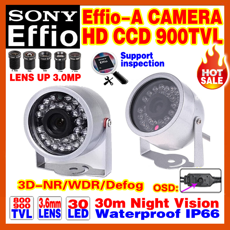 "Mini Effio-E-A 1/3""Sony CCD Hd Cctv Camera 960H 900TVL Indoor/Outdoor Waterproof IP66 Infrared D/Night Vision 30m OSD Meun Video(China (Mainland))"