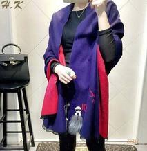 European Style 2015 New arrival Autumn Fashion Women Scarf Brand cartoon Double face warm cashmere Thicken shawls Female Z2717(China (Mainland))