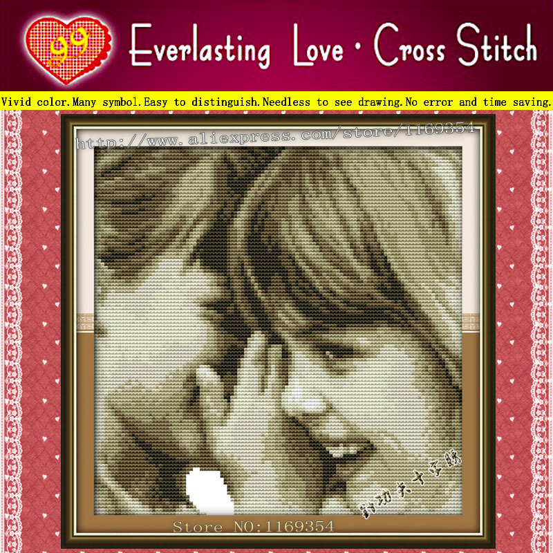 Two lovely girl pillow talk kid Free Shipping 11CT 100% accurate printings cloth embroidery cross stitch kits DIY needlework set(China (Mainland))