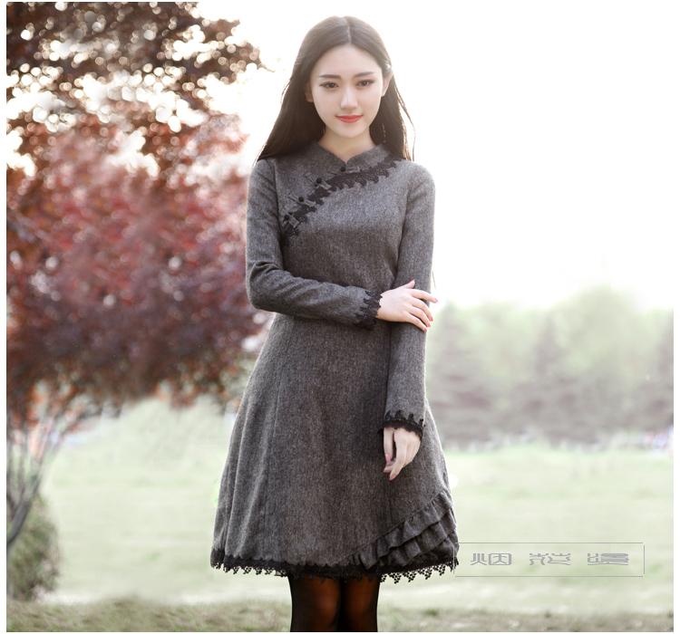 2016 Spring plus size womens long sleeve dress chinese style vintage brief dress slim elegant formal woolen one-piece dressОдежда и ак�е��уары<br><br><br>Aliexpress