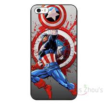 For iphone 4/4s 5/5s 5c SE 6/6s 7 plus ipod touch 4/5/6 back skins mobile cellphone cases cover Comic Cartoon Captain America
