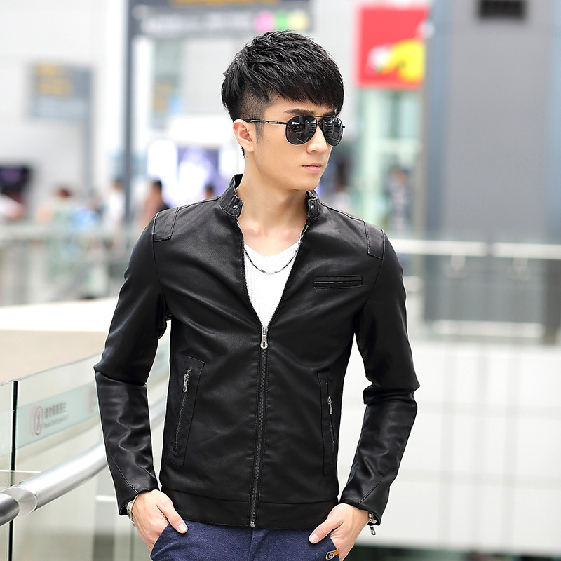 veste cuir homme men leather jacket spring fashion men 39 s. Black Bedroom Furniture Sets. Home Design Ideas