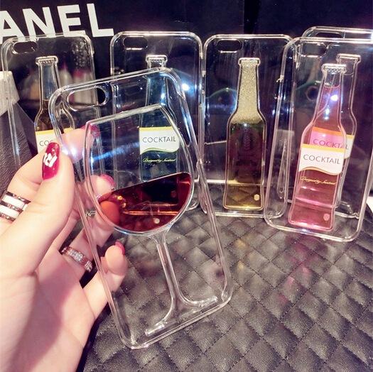 2015 New fashion Creative 3D Liquid Quicksand Red Wine cocktail Beer Glass clear Case Cover for iPhone 6 plus 5.5 inch(China (Mainland))