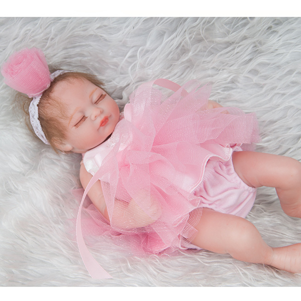 Real Touch 11inch Reborn Doll Full Silicone Newborn Baby Girl Doll Kids Bath Play Toy Accompany Toy Children's Clothes Model
