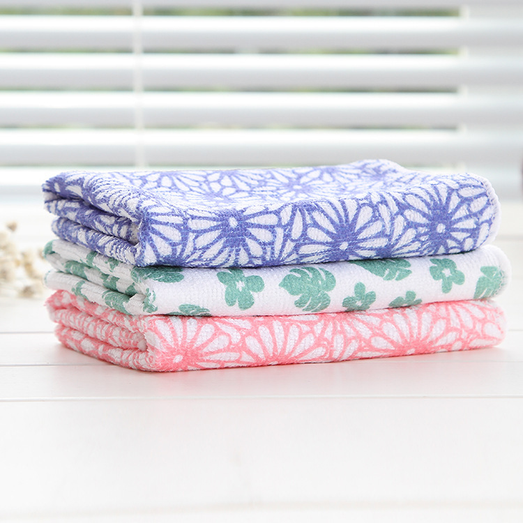 Printed Superfine Polyester Cotton Cloth Kitchen Cleaning Cloth Not Contaminated With Oil Washing Cloth Rag Towel F1875(China (Mainland))