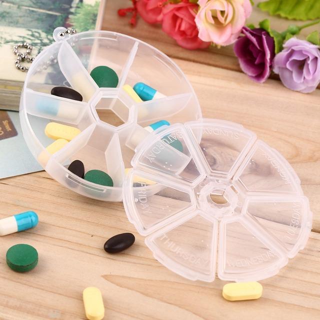 7 Цвет Дети Взрослых Круглые 7 Слот Здоровье Pill Box Case Медицина Наркотиками Организатор ...