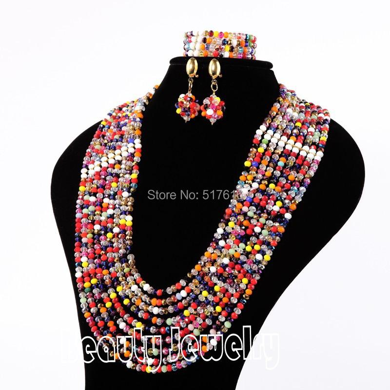 Fancy jewelries bead jewellery sets multi colored crystal necklace bracelet earring sets<br><br>Aliexpress