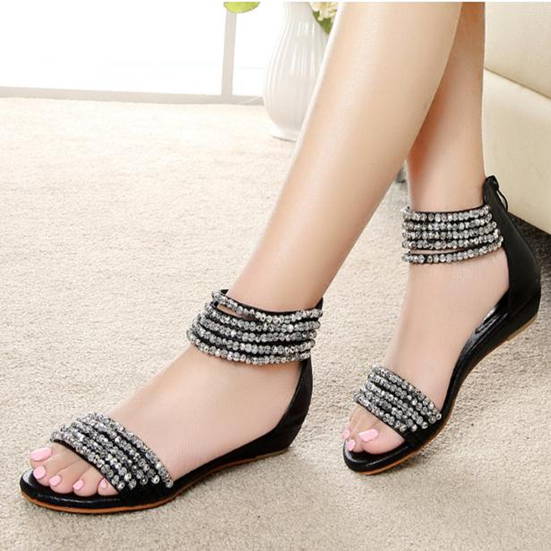 2016 beaded rhinestone low-heeled gladiator wedges bohemia style back zipper open toe female sandals<br><br>Aliexpress