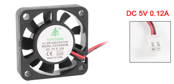 40mm x 10mm 0.12A 2 Terminal 5V DC Brushless Sleeve Bearing Cooling Fan<br><br>Aliexpress