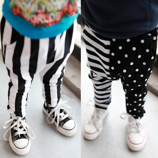 new arrive Clothing male child trousers 2014 spring sports casual harem pants black white stripe 0 - 3 v beizhen import and export trade co.,ltd store
