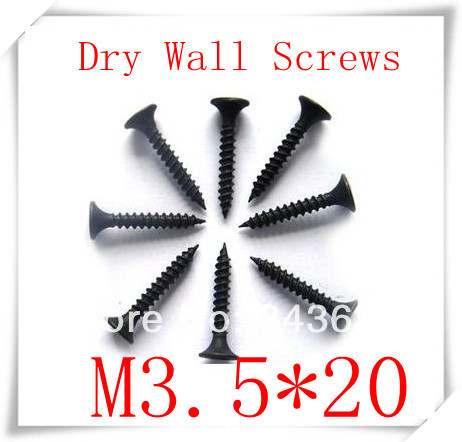 200pcs/lot M3.5*20 High strength self tapping screw dry wall nails wholesale countersunk head screws(China (Mainland))