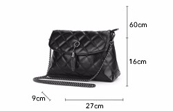 Occident Style Classic Ladies Quilted Bag Imported PU Leather Fashion Diamond Lattice Women Shoulder Bag Black Crossbody Bag
