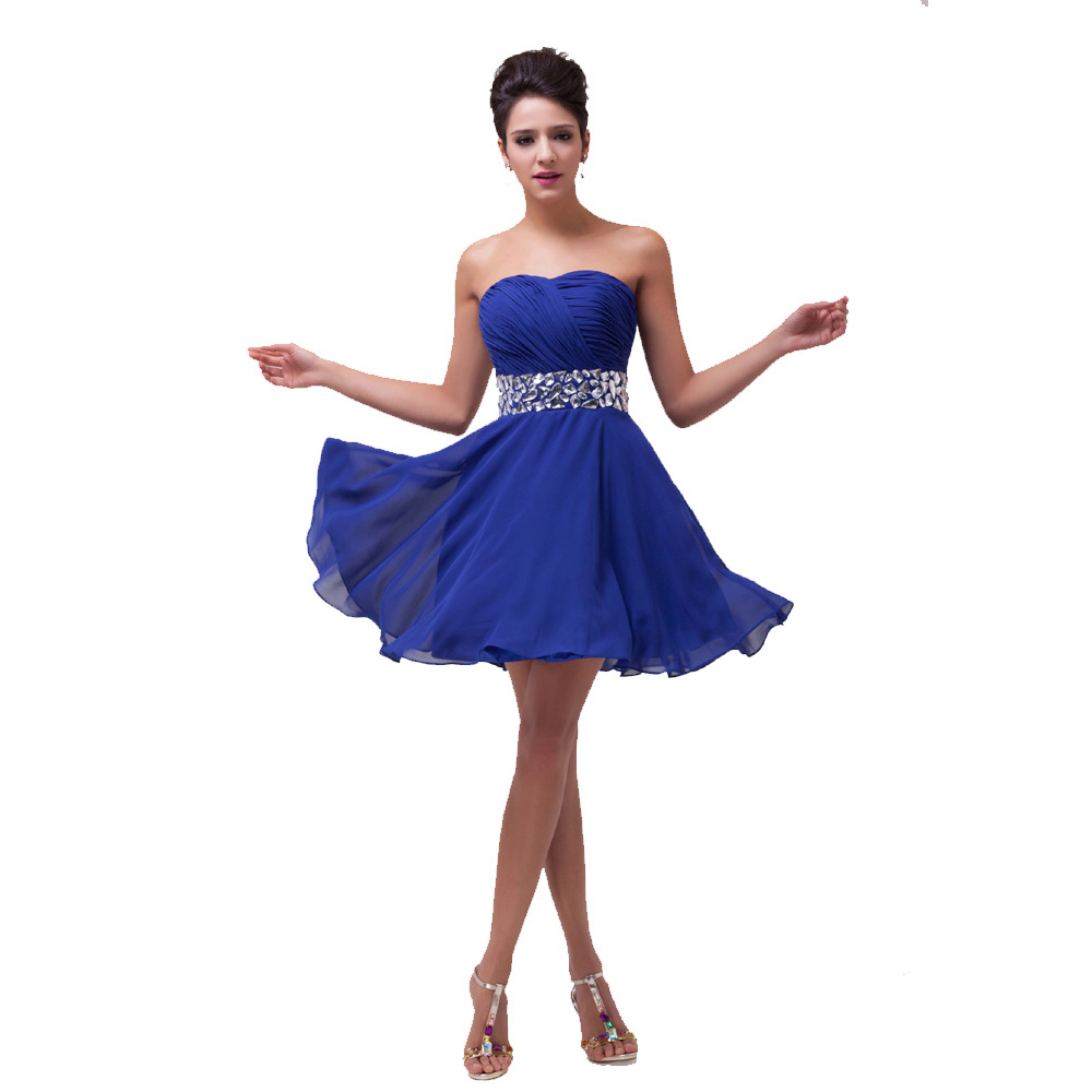 Grace karin stock strapless chiffon formal party special for Formal short dresses for weddings