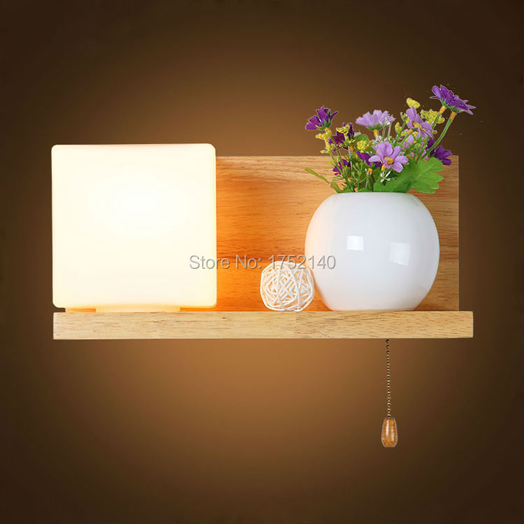 Bedside led wall lamp Solid wood lights wooden wall Mount glass shade candlestick candle wall sconce e27, with switch(China (Mainland))
