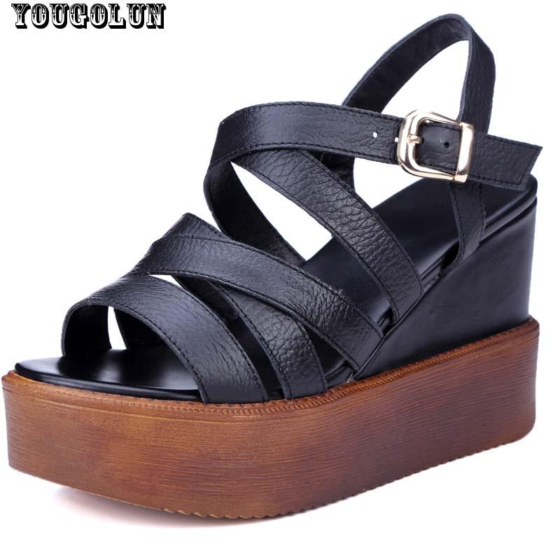 Summer Platform Sandals Women Wedges(8.5cm)Sandal Fashion Lady Open toe Ankle Strap Shoe Woman Black White Genuine Leather Shoes(China (Mainland))