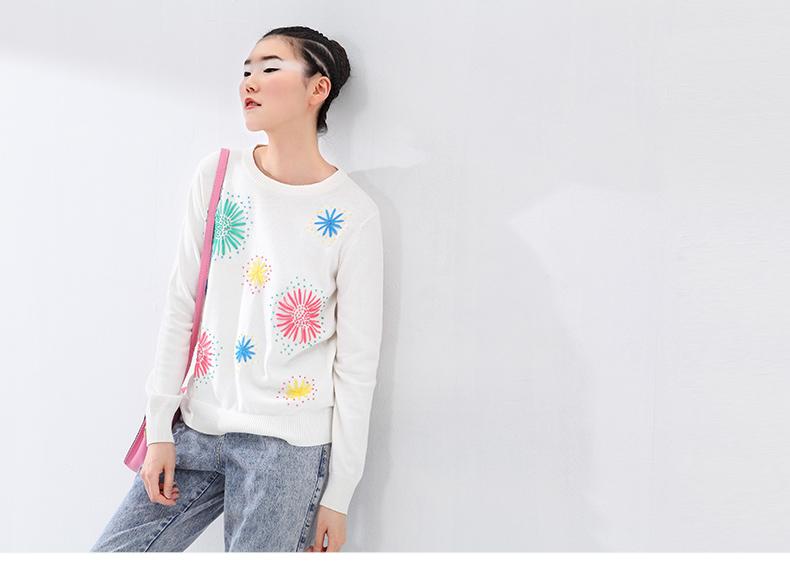 Toyouth Handmade EmbroideКрасный Kintted свитер Украшения О-образным вырезом Свободный Длинный-Рукав Basic Шерсть свитер