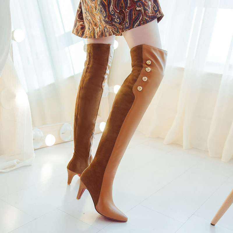Plus size 33-45 fashion winter women thigh high botas sexy Pointed Toe red bottom high heel shoes Patchwork Over-the-Knee boots<br><br>Aliexpress