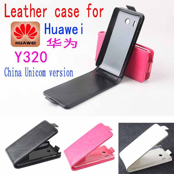 original Huawei y320 leather case android phone sets mobile phone holster y320 flip case(China (Mainland))
