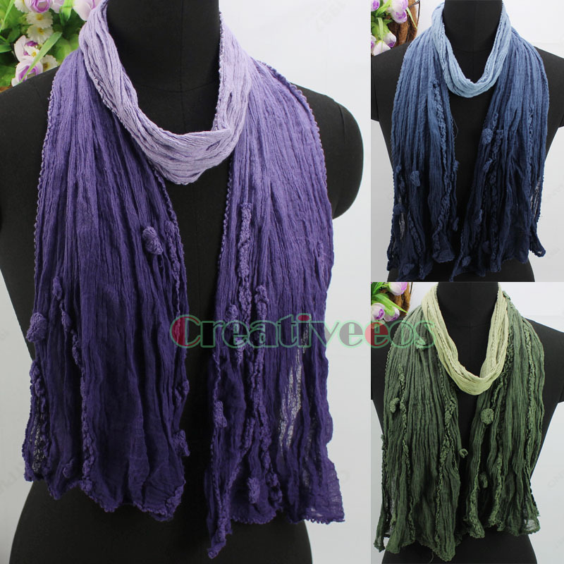 Vintage Distressed Gradient Color With Wave Edge Embroidery Soft Comfy Crinkle Cotton Gauze Long Scarf Shawl