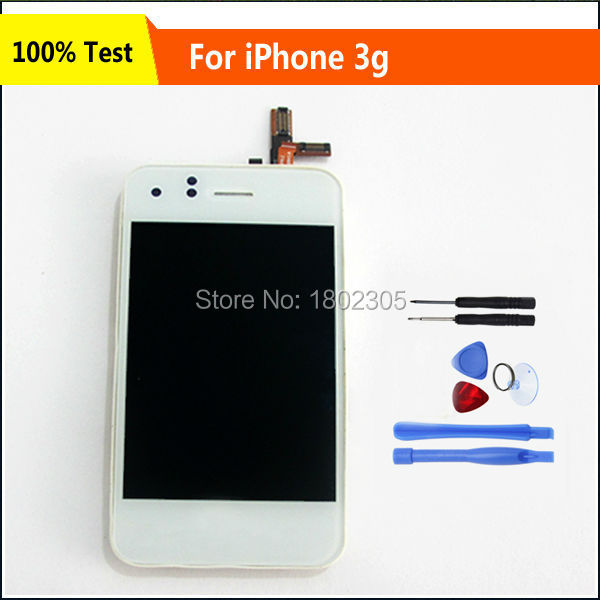 100% Test LCD and Touch Screen Digitizer Glass Assembly Replacement For iPhone 3 3G White,Free Shipping(China (Mainland))