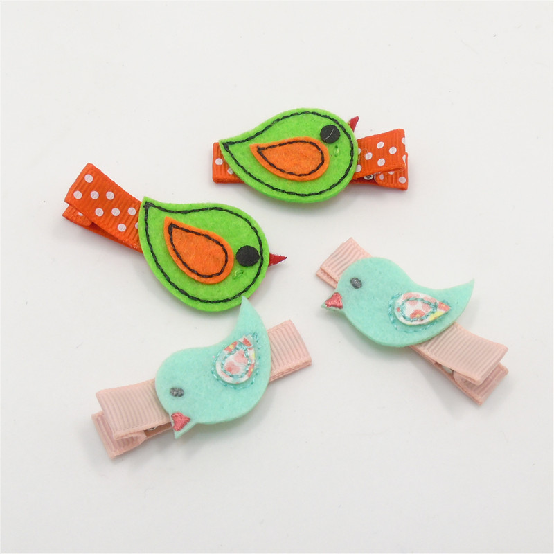 10pairs/lot Blue Green Flying Bird Baby Hair Clip Felt Animal Cartoon Polka Dot Hairpin Cute Newborn Baby Barrette Chic Kid Gift(China (Mainland))