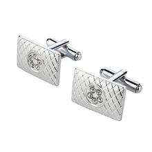 New Brand Man's Cuff links for wedding and Party Silver Plated With Crystal Patterned Design Men's Accessories Statement(China (Mainland))