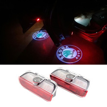 2pcs Car Door LED Logo Projector Ghost Shadow Laser Courtesy Welcome Light For Skoda Superb 2009-2014(China (Mainland))