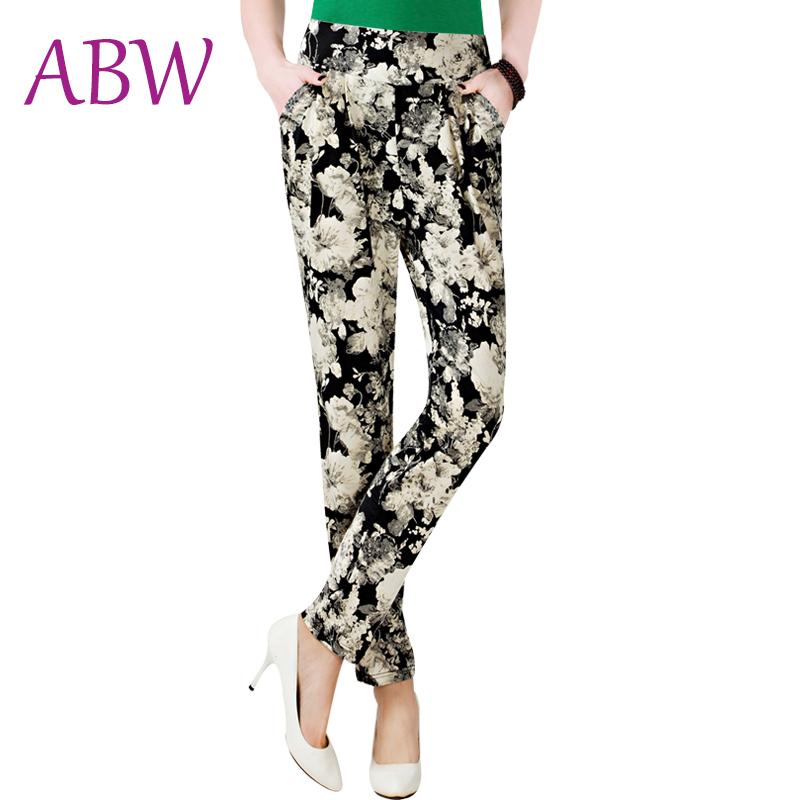 2016 New Summer Chiffon Pants Plus Size Flower Printed Womens Harem Pants Loose Elastic Waist Ankle-Length Pants Women Trousers(China (Mainland))