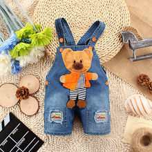 2016 NEW Newborn Baby Girls Boys Kids Denim Jeans One-pieces bear Rompers Playsuits Overalls Bib Clothes FREE SHIPPING 0-3T
