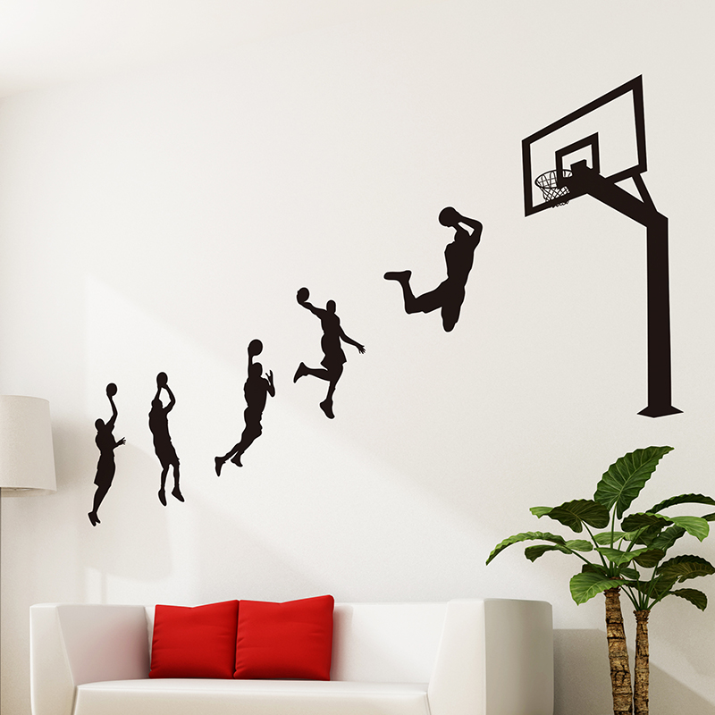 Basketball Wall Sticker Game Stadium Wall Art Wall Decals For Kids Rooms Basketball Equipment Store Mural Sticker Home Decor(China (Mainland))