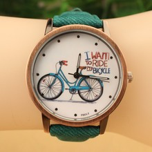 Free Shipping Women Watch 2014 New Fashion Cute Cartoon Bike Geniune Leather Dress Watch Women Quartz Casual Watch Wristwatch