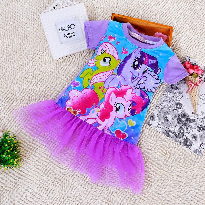 Retail 2015 o neck girls cartoon my little horse dress kd2~kd6 baby girls clothes vestidos hot sale(China (Mainland))