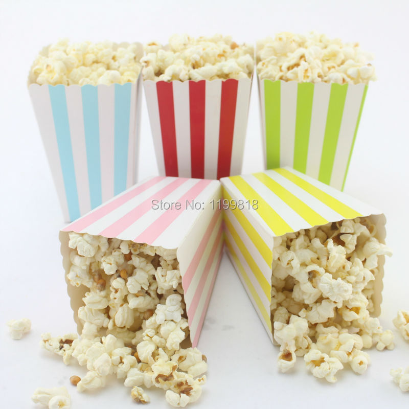 600pcs baby shower favor popcorn bags striped style candy popcorn