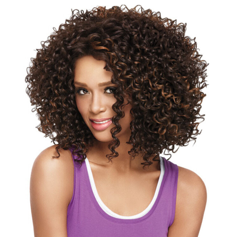 Brown Short U Part Kinky Wigs African American Fiber Curly Wigs Women Heat Resistant Cosplay Wigs<br><br>Aliexpress