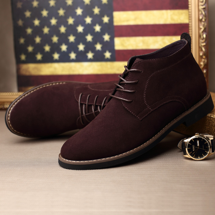 100% Genuine leather Warm fur Ankle Boots,Brand Black Suede leather Men Winter Boots,Casual Lace Up Men Winter Shoes Snow
